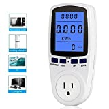 KOBWA Power Meter Plug Energy Electricity Usage Monitor Home Energy Watt Volt Amps Wattage Consumption Analyzer with Blue Backlight LCD Display Overload Protection