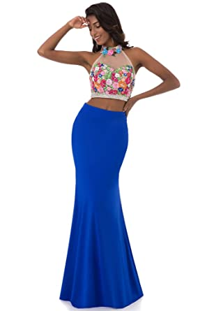 HONGFUYU Prom Dresses Two Pieces 2 High Neck Sleeveless Mermaid Evening Gowns 2018 RoyalBlue-UK16