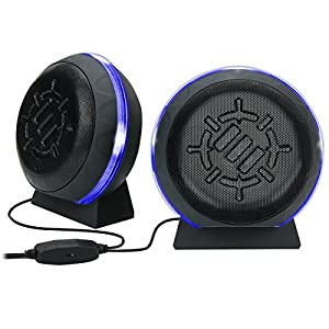 ENHANCE Gaming LED Computer Speakers with Subwoofer , Powerful 5W Drivers and In-Line Volume Control - Blue Glowing Lights , USB 2.0 Powered , 3.5mm Connection for PC , Desktop , Laptop , Notebook