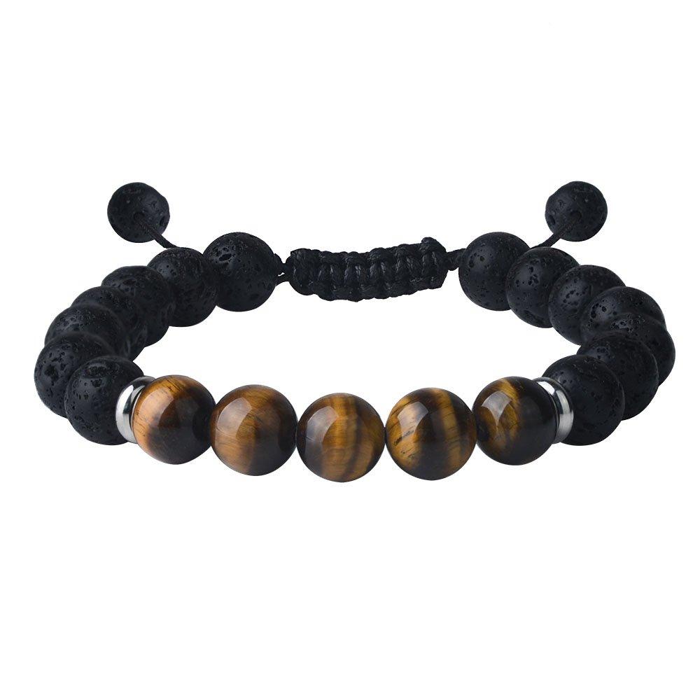 Jeka Tiger Eye Lava Stone Bracelet Natural Beads Black Healing Jewelry Men Women Handmade Braided Adjustable 10mm
