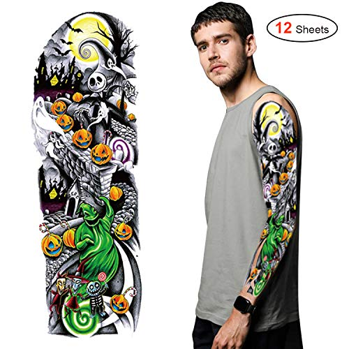 Konsait 12Sheets Nightmare Before Christmas Large Full Arm Temporary Tattoos Temporary Sleeve Tattoos Fake Body Art Arm Tattoo Black Tattoo Body Stickers for Kids Adults