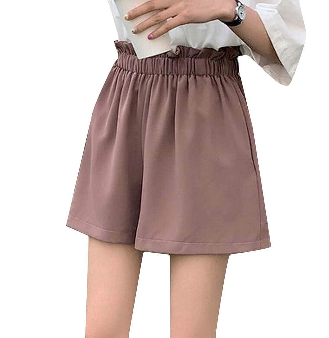 Cromoncent Women Casual Solid Elastic Waist Wide Leg Straight Leg Shorts