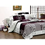 May 3pc 100% Cotton Duvet Cover Set: Duvet Cover and Two Matching Pillowcases (King)