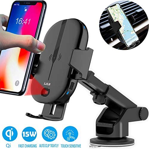 LJLB Wireless Car Charger Mount 15W 10W 7.5W qi Certified Fast Charging Car Phone Holder car Wireless Charger Phone Mount for Samsung note8 S10 S10 Note9 S9 S8 iPhone Xs XS Max XR X 8
