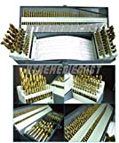 115PC TITANIUM COATED HIGH SPEED DRILL BITS w /INDEX A-Z LETTER STEEL CASE