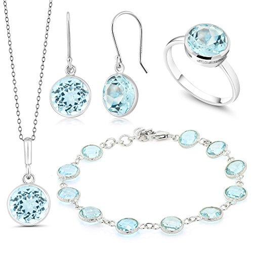 Ring Bezel Set Gem Bead - Gem Stone King Beautiful 37.5ctw 4 Piece Blue Topaz Sterling Silver Jewelry Set