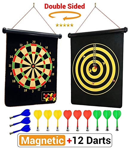 PremiumExclusives 2019 Magnetic Dart Board | Double Sided Rollup Dart Board | 12 Safe Darts of 4 Colors and 2 Dart Games for Complete Family Fun | Excellent Gift for Kids Room or Man Cave ()