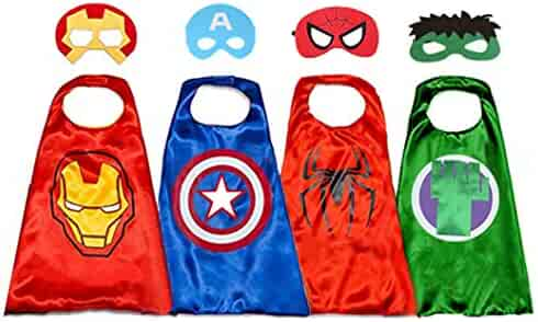 Superhero Capes for Kids, 8 Heroes Reversible Satin Capes and Masks for Dress Up Costumes (4 Cape 8 Mask)