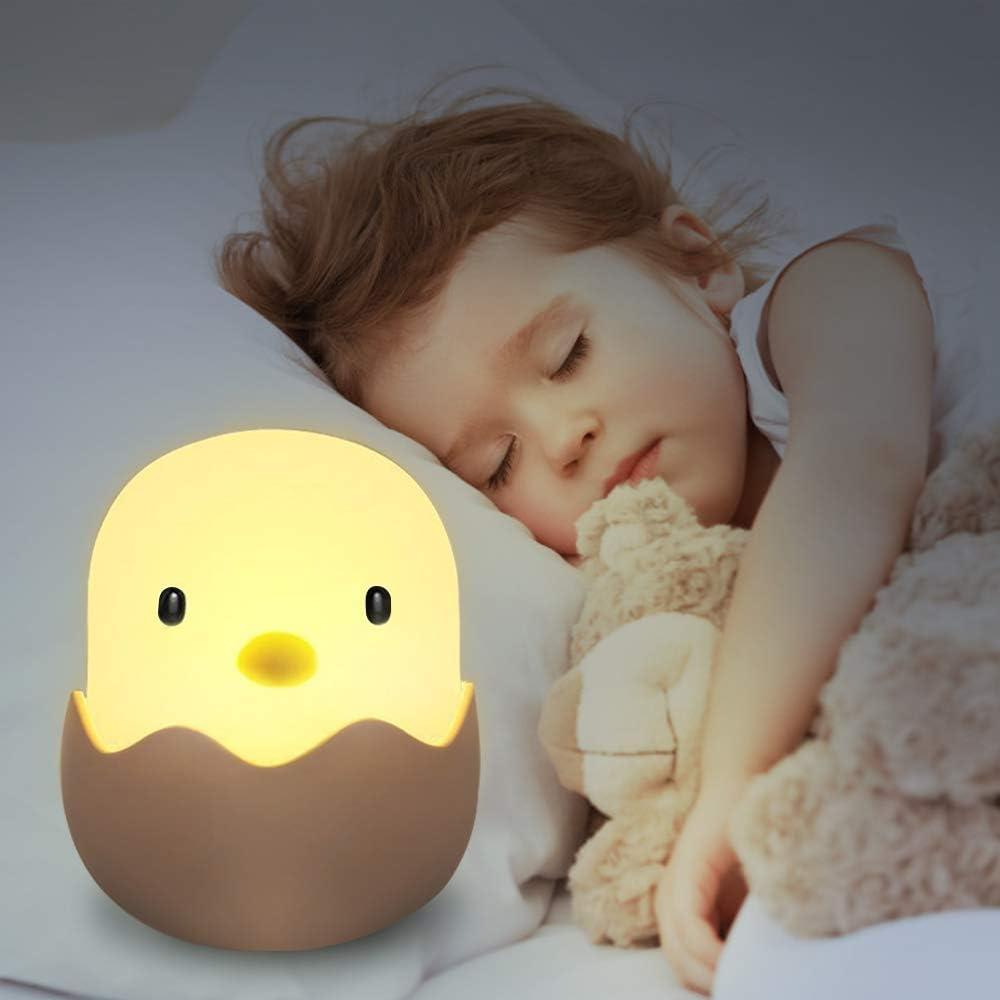 solawill Luz Nocturna Bebé Lámpara LED Silicona Toque Lámpara de Noche USB Recargable Lámpara de Cartoon Polluelo Animal para mesita de noche o estantería, Regalo para los Niños