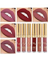 Beauty Glazed Matte Nude Liquid Lipstick Lip Gloss Kit Waterproof Lip Makeup Durable Lipgloss Cosmetics Mini 6pcs/set Birthday Edition Long Lasting Non-Stick Cup Liquid Lip Gloss Set