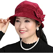 Women fisherman hat, elegant lady hat, female spring and autumn winter warm fashion small basin hat, mother-in-law hat,F (56-58cm) inside the smoke zone,Claret