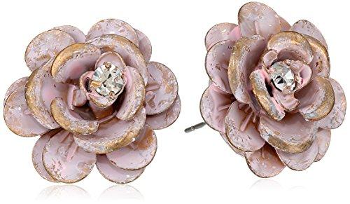 "Betsey Johnson ""Pinktina"" Patina Flower Stud Earrings"