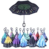 Double Layer Wind Proof,UV Proof Reverse Folding Inverted Umbrella Travel Umbrella with C Shape Handle and Carrying Bag-Travel