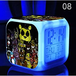 Five Nights at Freddy's Cartoon Games Freddy's Bear Action Figure 7 Colors Change Digital Alarm LED Clock Cartoon Night Colorful Toys for Kids (Style 8)