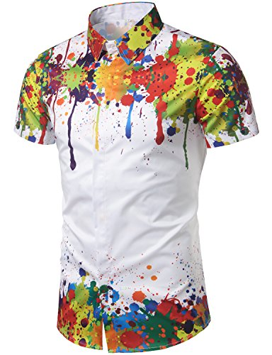 WHATLEES Mens Geek Psychedelic Splash-Ink Printed Slim Fit Short Sleeve Dress Shirts (Printed Hipster)