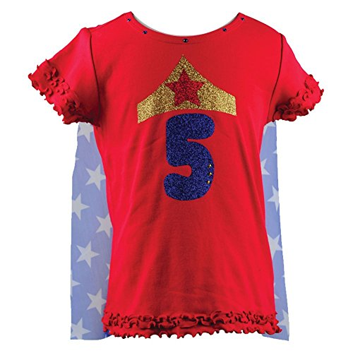 - Reflectionz Little Girls Red Wonder Girl Star Birthday Cape T-Shirt 6