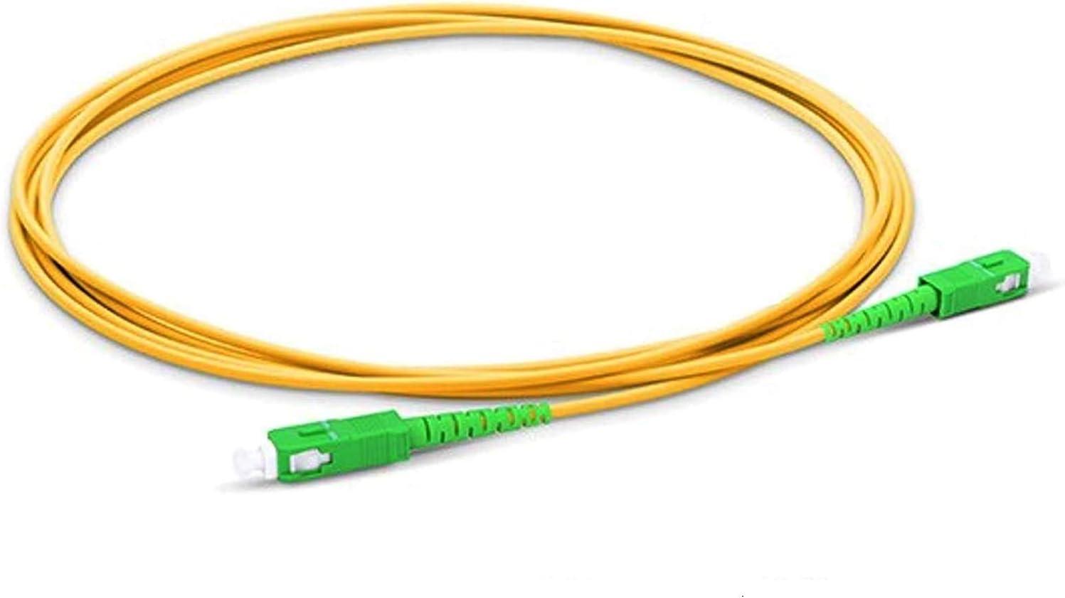 Cable de Fibra Óptica para Router - Latiguillo Monomodo FTTH - 9/125 OS2 - SC/APC-SC/APC Simplex - Compatible 99% Operadores Movistar Jazztel Vodafone Orange Amena Masmovil Yoigo (1 M)