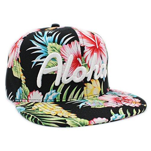 Embroidered Aloha, Hawaii Tropical Hawaiian Print Snapback Cap