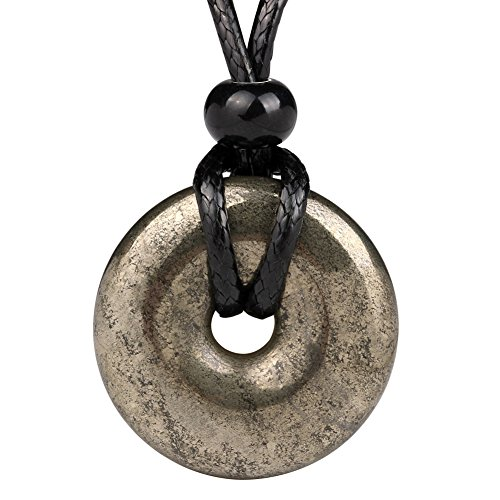 Amulet Golden Pyrite Iron Lucky Coin Shaped Donut Protection Magic Power Pendant Adjustable Cord Necklace
