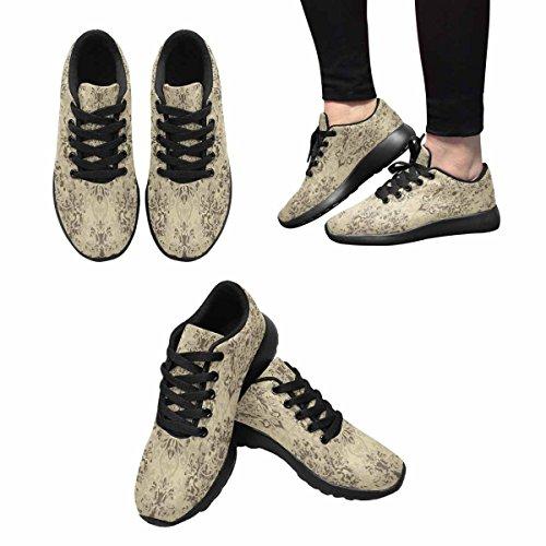 Interestprint Mujeres Jogging Running Sneaker Ligero Go Easy Walking Comodidad Casual Zapatillas Damask Pattern Multi 1