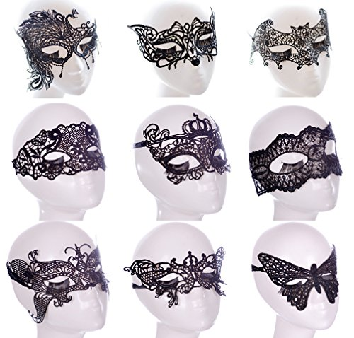 YallFairy 9pcs Women Costume Halloween Party Lace Sexy Eye Mask Veil Masquerade (Black And White Party Costumes)