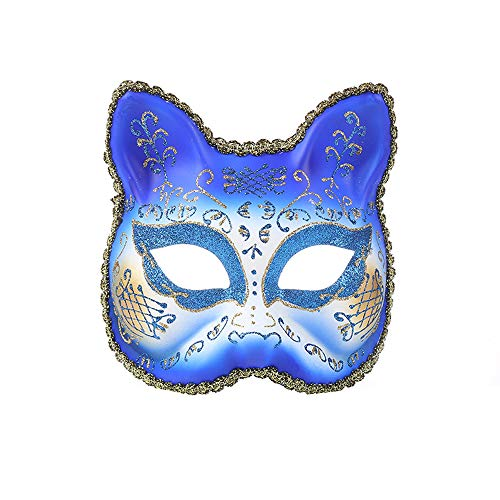 - Vetasac Venetian Masquerade Masks for Women Cat Face Party Ball Mardi Gras Halloween Christmas Carnivals Masks XP006 (Sapphire Blue)