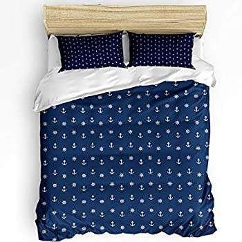 Image of Alandar Home Bedding Sets Duvet Cover 3 Pieces, Nautical Pirate Anchor Ultra Soft Bed Quilt Set with 2 Pillowcases for Kids/Teens/Women/Men Bedroom Decoration Blue and White Anchors California King