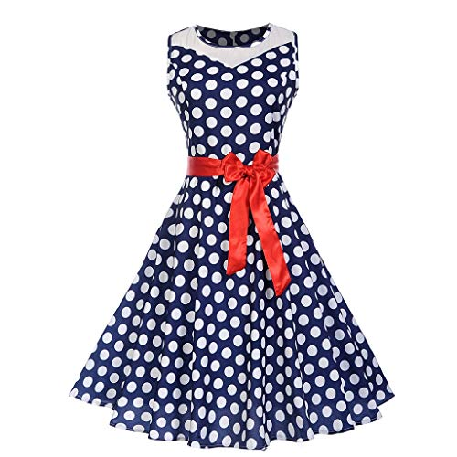 Dress for Women, Botrong Vintage 1950s Retro Sleeveless O-Neck Dot Printing Party Prom Swing Dress ()