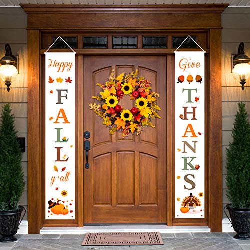 Dazonge Thanksgiving Fall Decorations | Happy Fall Y'all & Give Thanks Porch Signs | Thanksgiving Home Decor | Fall…