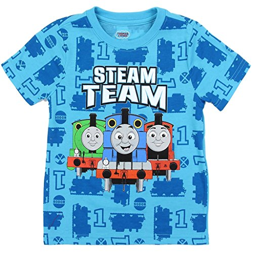 (Thomas and Friends Little Boys' Toddler Allover Print Tee, Blue (4T))