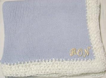 Amazoncom Knitted On Hand Knitting Machine Blue Cotton Hand
