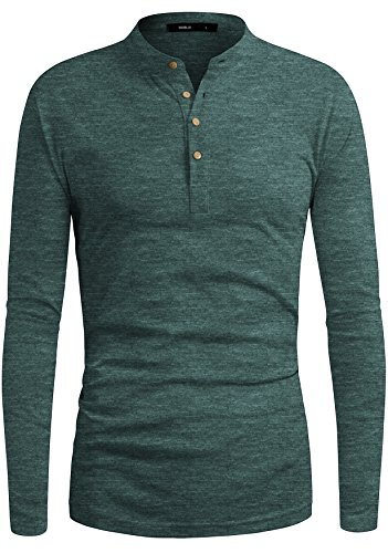 Henley Cotton Jersey (DANDYCLO Men's Henley Shirt Casual Basic Long Sleeve Solid Henley Neck Shirt Green Small)