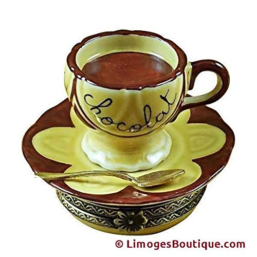 HOT CHOCOLATE CUP & SAUCER - LIMOGES BOX AUTHENTIC PORCELAIN FIGURINE FROM FRANCE
