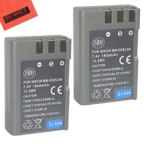 BM Premium 2 Pack of BM Premium EN-EL9, EN-EL9A Batteries for Nikon D5000, D3000, D60, D40x & D40 Digital SLR Camera