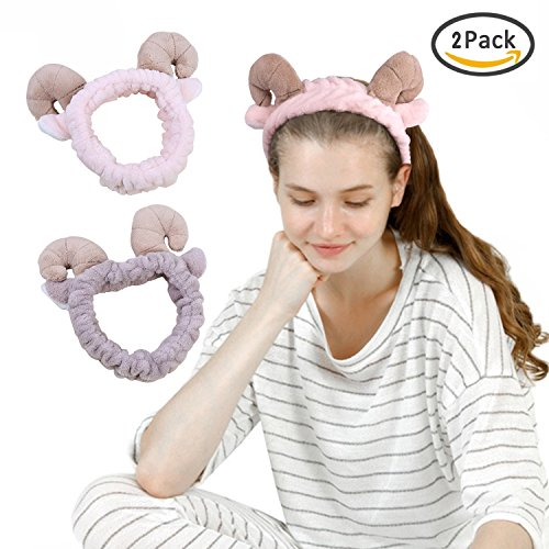 2 Pcs Plush Sheep Ears Headband Makeup Shower Wash Face Sport Hair Band (Pink+Brown) (Sheep)