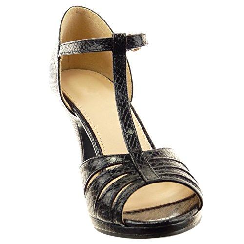 Sopily - Zapatillas de Moda Tacón escarpín correa abierto Tobillo mujer piel de serpiente Talón Tacón de aguja alto 9 CM - plantilla sintético - Negro