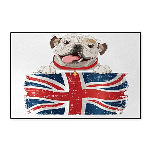English Bulldog,Bath Mat,Happy Pet Bulldog Holding a Union Jack Flag of The Great Britain,Floor Mat Pattern,Cream Navy Blue Red 32