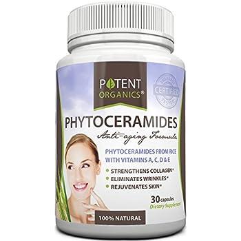 Potent Organics Phytoceramides, 40mg Rice Ceramides (Max Strength). 30-Day Supply