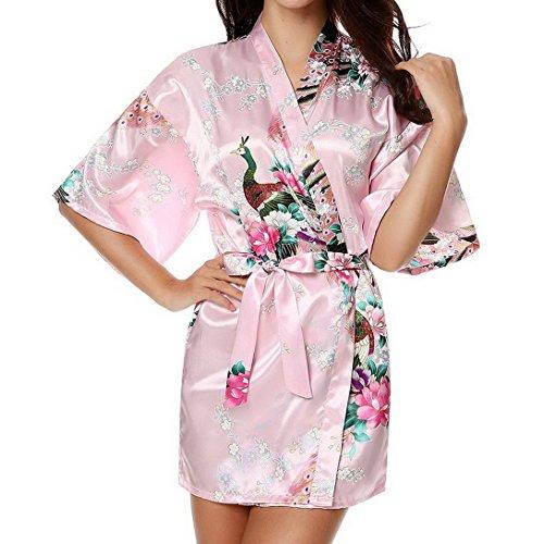 FEOYA Donna Accappatoio Kimono Pavone e fiori Stampa Seta Pigiama Rosa