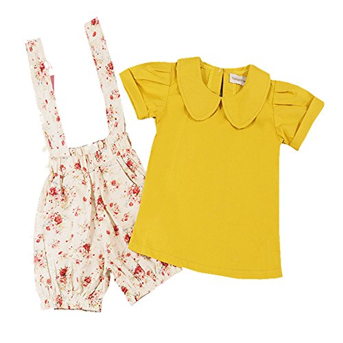 Floral Girls Set Summer Short Sleeve Cotton Mustrad Yellow Shirt + Suspander Shorts Sets 2PC Clothes for Girls 2-6years (4T)