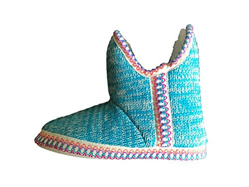 Sizes Lightweight Knitted On Coolers Bootie 8 Slippers Slip Lined Womens Fleeced 3 Blue Girls Soft UK qAHxPY