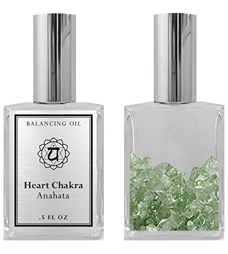 4th Chakra Balancing Oil- Anahata Heart Chakra Aromatherapy - Roll On Pulse Points - Infused with Green Aventurine Crystals and Pine Essential Oil - BIOS APOTHECARY