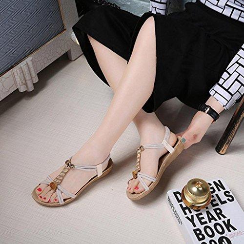 Transer Ladies Flat Sandals- Women Summer Roman Sandals Leisure Comfy Shoes White XrwZbyW