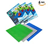 6 Baseplates Compatible with LEGO Building Bricks Blocks Base Plates Large Sheets 10x10 Inches For Activity Table Board 2 Green 2 Blue 2 Grey