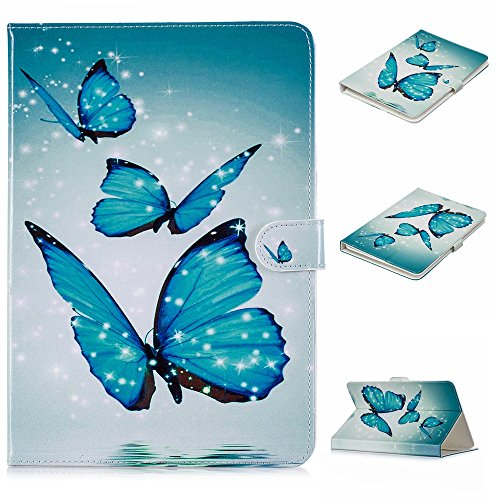 9.5-10.5 inch Universal Case, Dteck Slim Light PU Leather Protective Case with [Card Slots] Pretty Cute Cartoon Folio Flip Stand Wallet Case Cover for All 9.5-10.5 inch Tablet,Three Butterfly