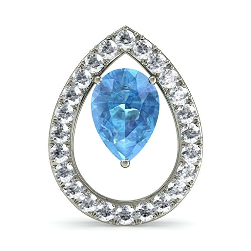 Or blanc 14 K 0.57 carat au total Round-cut-diamond (IJ | SI) et topaze bleue Boucles d'oreille à tige