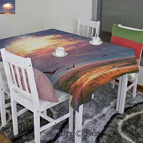 - AngelSept 3D Printed Tablecloth Velour Hemp by Golden Sun Beams Break Through Storm Clouds Skyline Flying Gulls(60