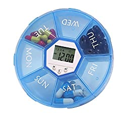 ChiTronic 7-Day Pill Box Timer Medicine Organizer Vitamin Container with 4 Groups Loud Alarm Reminder, Digital Time Display and LED Back Light (Blue)