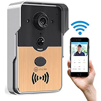 Video Doorbell, LITTLE TREE Smart Doorbell Camera 720 HD Wi-Fi Security Camera with 2-Way Audio Intercom, Real-Time Talk and Video, Night Vision, PIR Motion Detection for IOS and Android