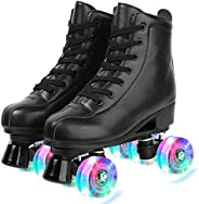 Womens Roller Skates Light Up Wheels, Artificial Leather Adjustable Double Row 4 Wheels Roller Skates Shiny Sk